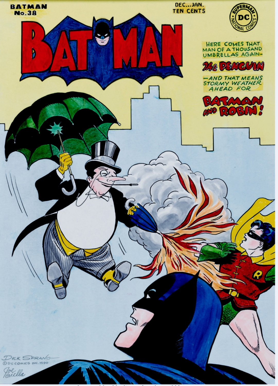 Batman #38 Large Cover Recreation (Batman & Robin Vs. The Penguin!) 1990