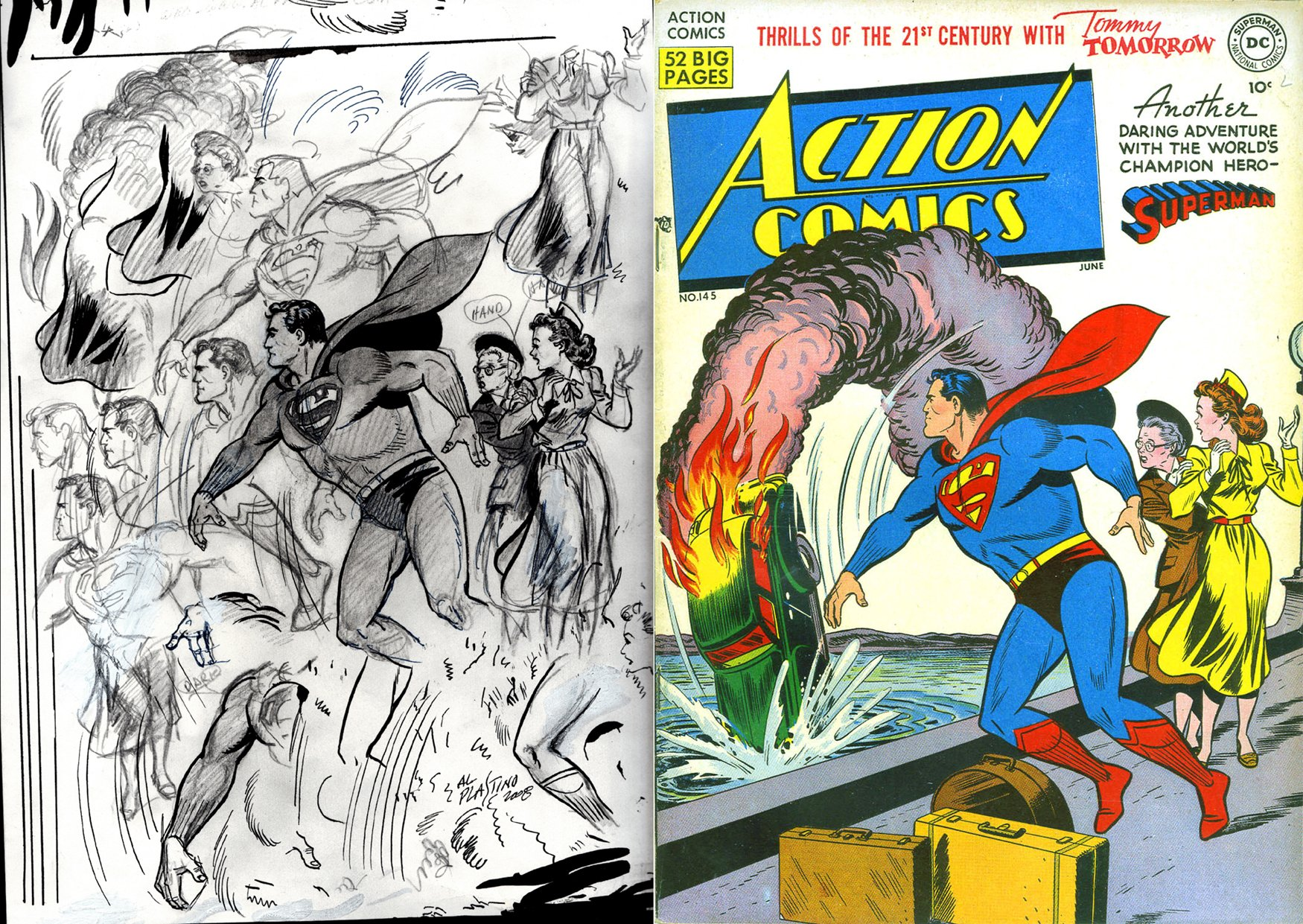 Action Comics #145 Cover Study Drawings (SOLD LIVE ON 'DUELING DEALERS OF COMIC ART' EPISODE #30 PODCAST ON 8-9-2021 (RE-WATCH THIS FUNNY ART SELLING SHOW HERE)