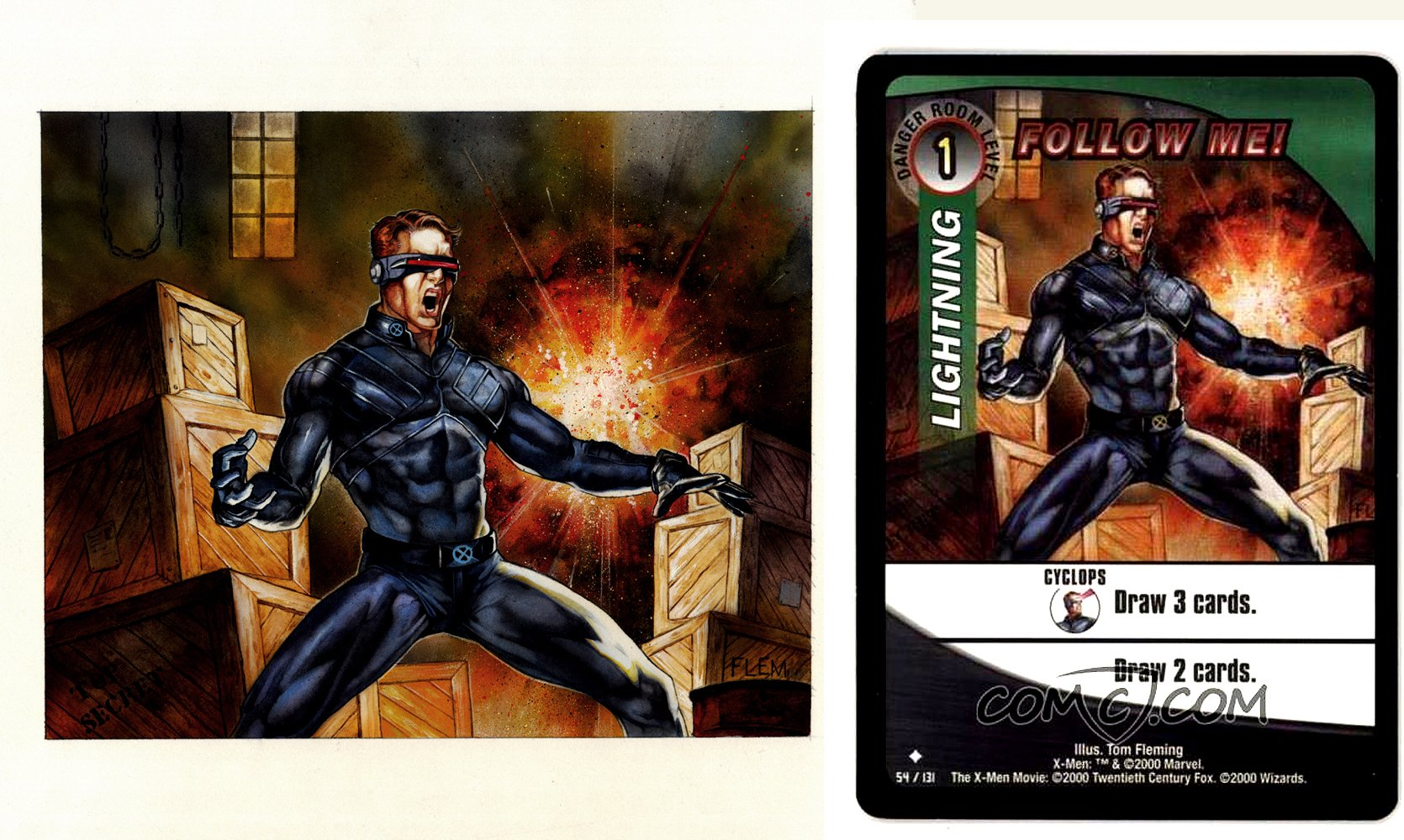 X-Men CYCLOPS Published Painting,Card #54, Titled: 'FOLLOW ME!'
