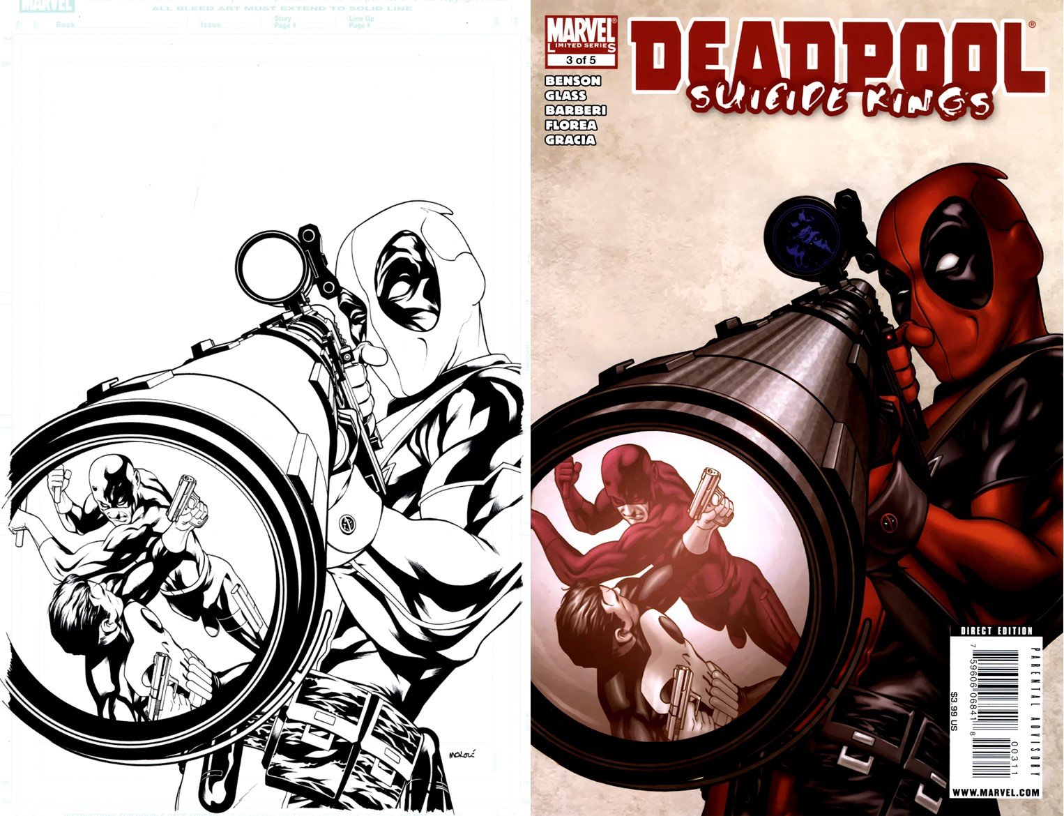 Deadpool: Suicide Kings #3 Cover (Deadpool; Punisher; Daredevil!) 2009