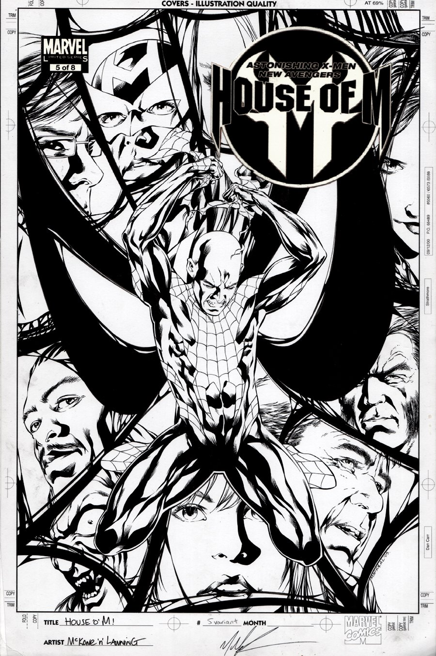 House of M #5 Cover (11 Characters Drawn!) 2005