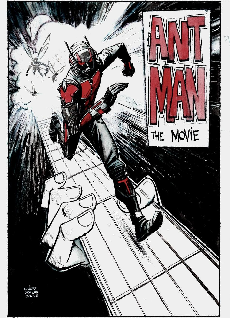 Ant-Man Movie Pinup (SOLD LIVE ON 'DUELING DEALERS OF COMIC ART' EPISODE #22 PODCAST ON 6-16-2021 (RE-WATCH THIS FUNNY ART SELLING SHOW HERE)