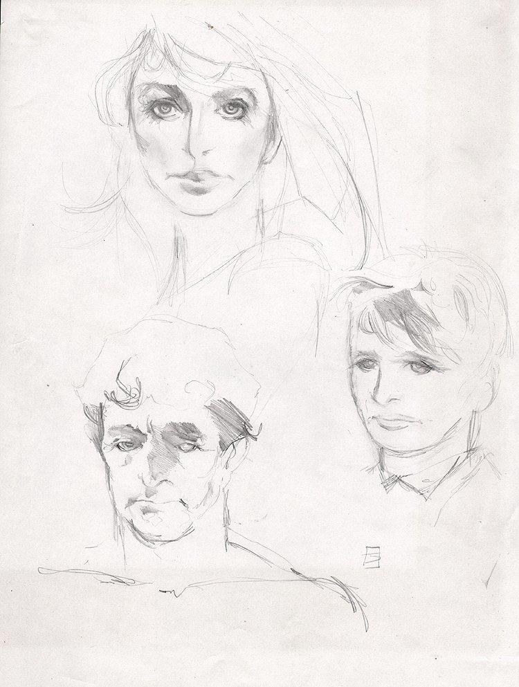 Man, Woman, And Child Illustration