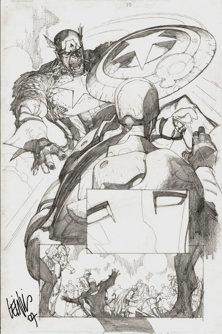 New Avengers #29 p 10 SPLASH (Zombie Captain America Battles Iron Man!)