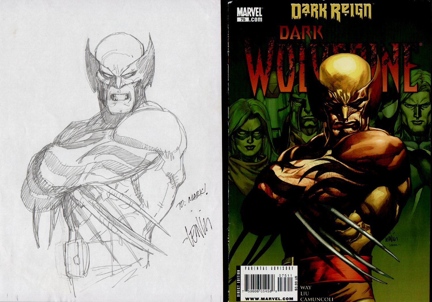 Dark Wolverine #75 Cover Pencil Prelim (2009)