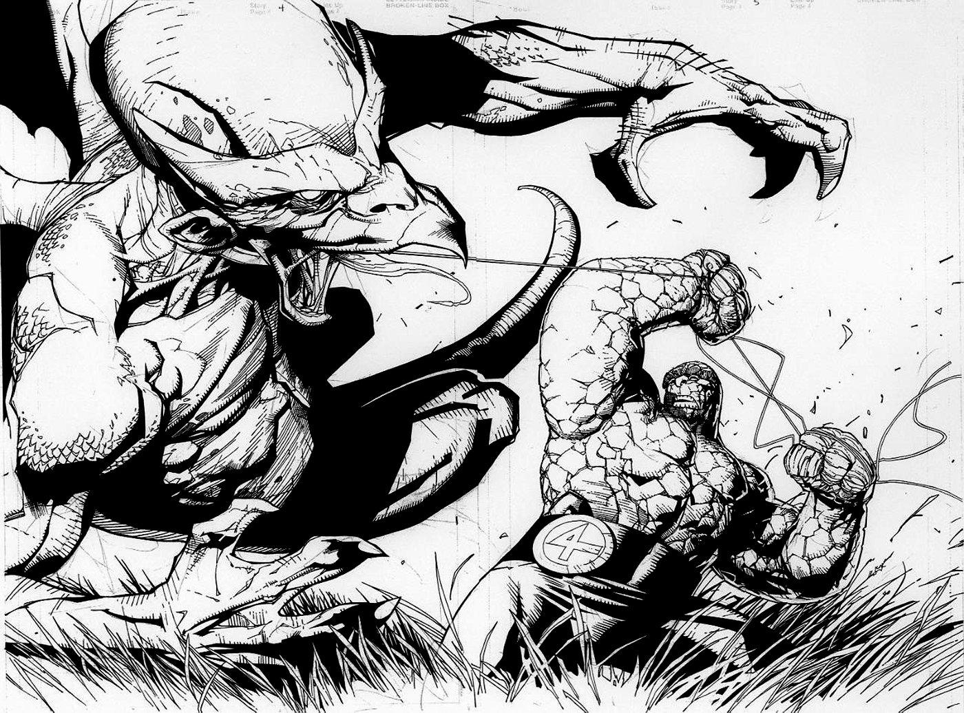 Fantastic Four 2001 p 36-37 Double Spread Splash (Thing Battles Dragon Man!)