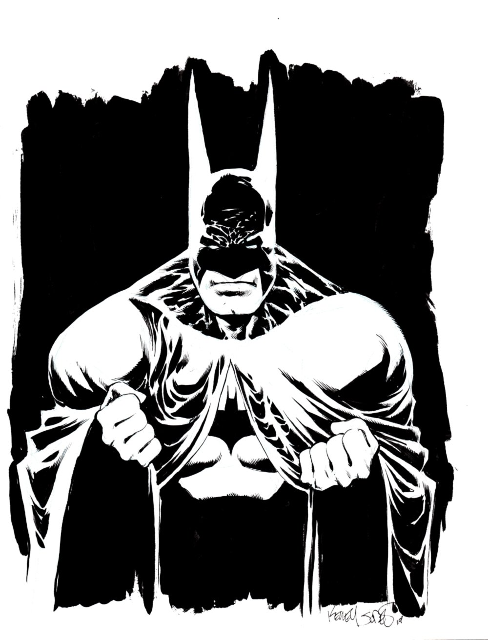 Batman Pinup (SOLD LIVE ON 'DUELING DEALERS OF COMIC ART' EPISODE #7 PODCAST ON 3-10-2021 (RE-WATCH OUR LIVE ART SELLING PODCAST HERE!)