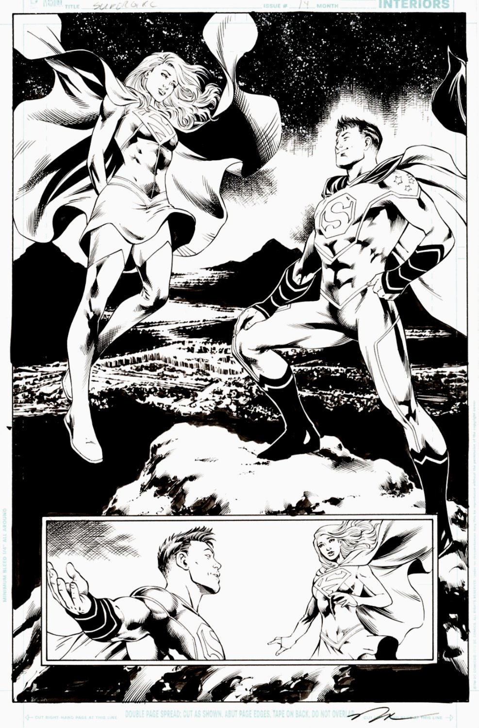 Supergirl #14 Splash (SOLD LIVE ON 'DUELING DEALERS OF COMIC ART' EPISODE #39 PODCAST ON 10-4-2021(RE-WATCH THIS FUNNY ART SELLING SHOW HERE)