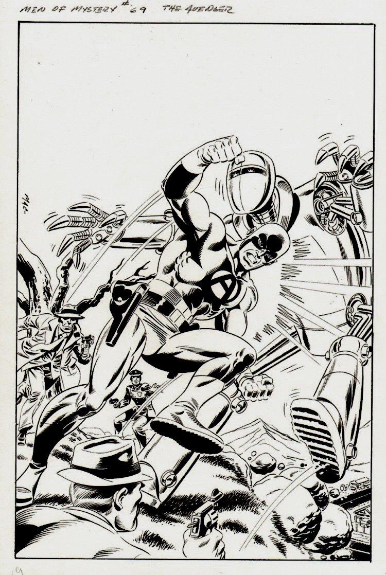 Men of Mystery #69 Cover (Bob Powell 1955 The Avenger #3 Cover Homage, The Avenger Vs Robot!)