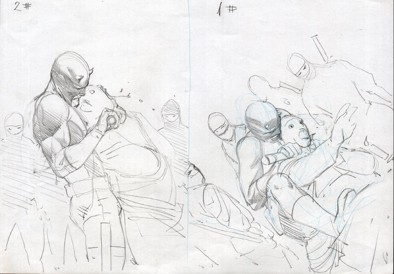 Daredevil #501 '2' Cover Prelim Drawings (2009)