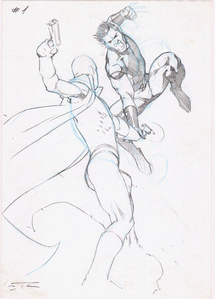 Uncanny X-Force Cover Prelim (Fantomex & Wolverine!)