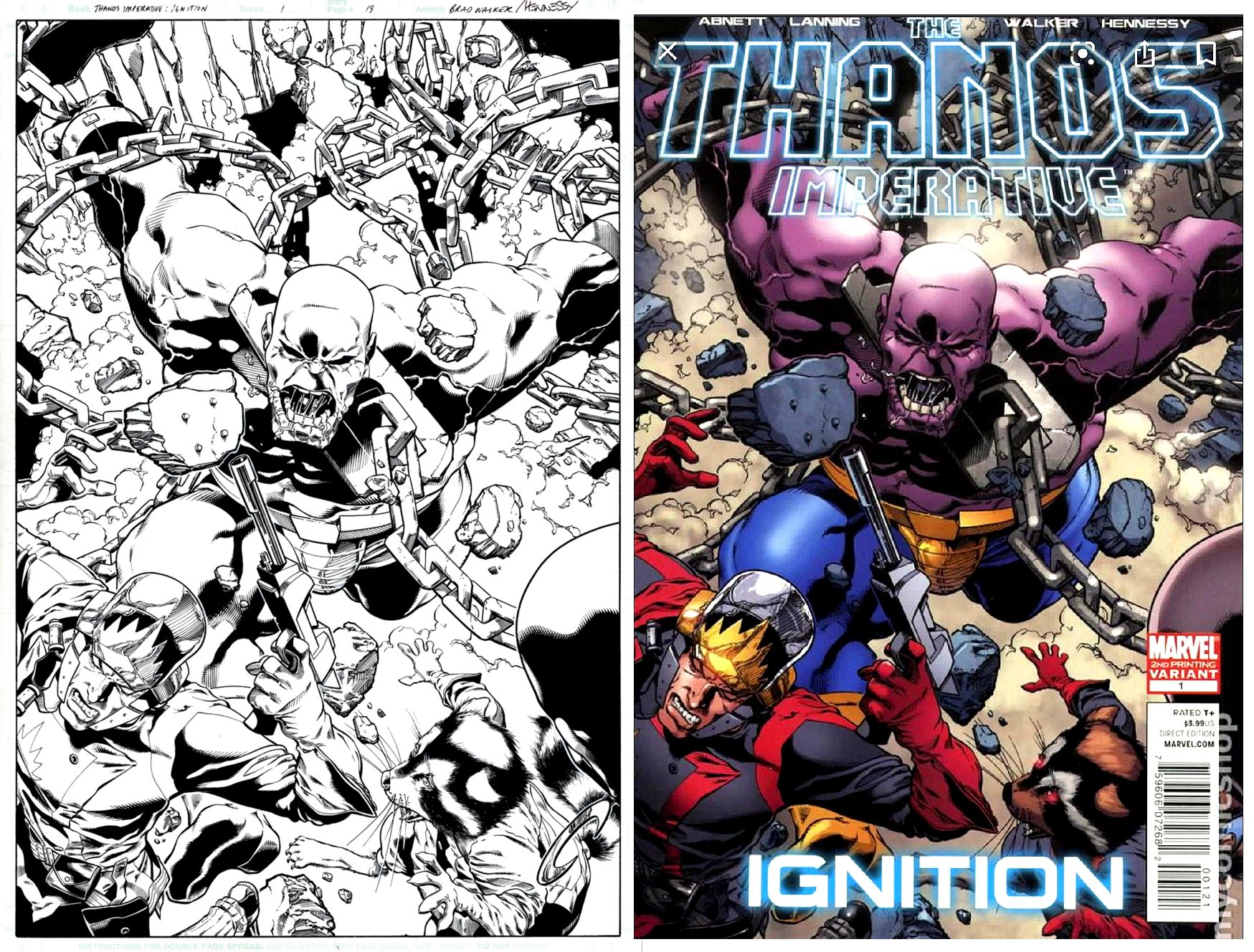 Thanos Imperative Ignition #1 Cover & Splash (SOLD LIVE ON 'DUELING DEALERS OF COMIC ART' EPISODE #8 PODCAST ON 3-17-2021 (RE-WATCH OUR LIVE ART PODCAST HERE!)