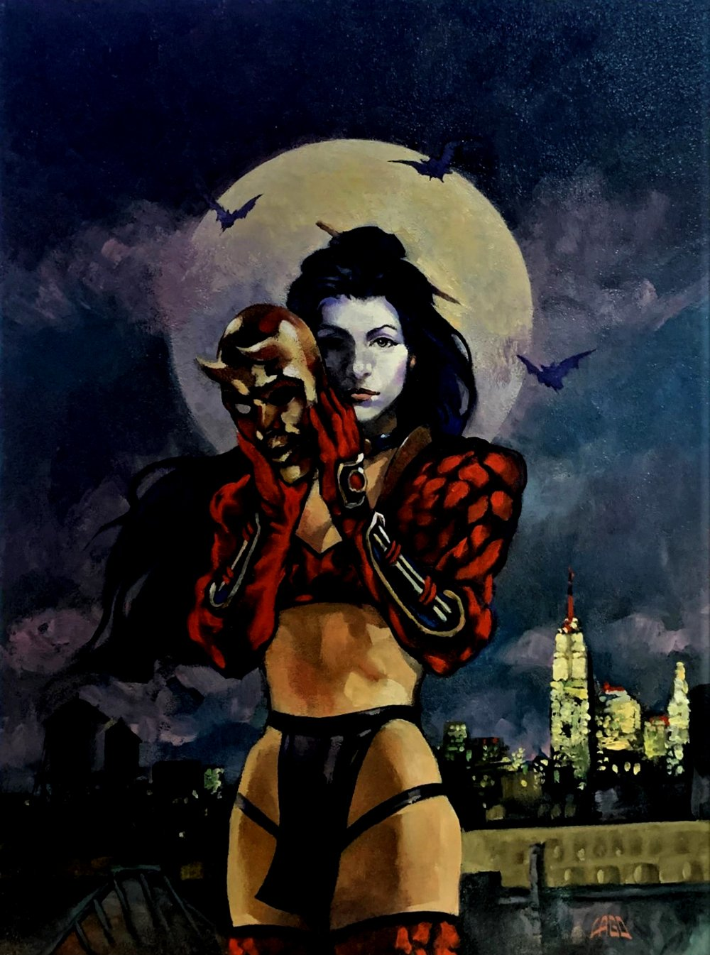 Shi: Masquerade #1 Cover Painting (Unpublished - 1998)