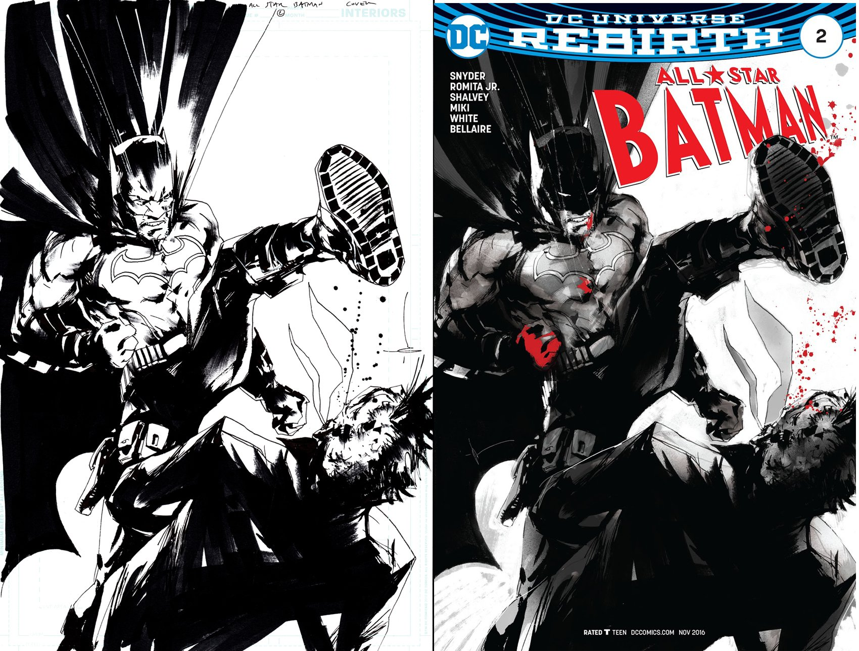 All Star Batman #2 Cover (BATMAN KICKING TWO-FACE ON THE EVIL SIDE OF HIS FACE....LOL) 2016