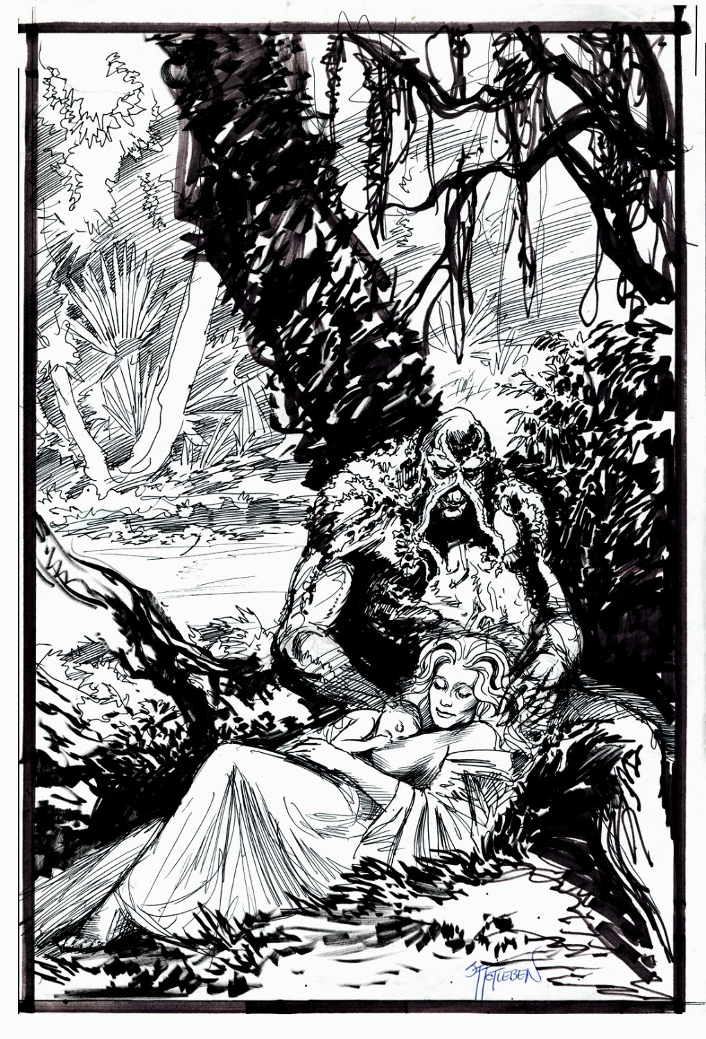 Swamp Thing, Abby Pinup SOLD LIVE ON 'DUELING DEALERS EPISODE #36 PODCAST ON 9-15-2021 (RE-WATCH THIS FUNNY ART SELLING SHOW HERE)