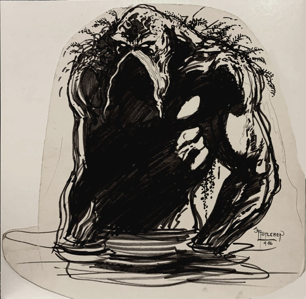 Large Swamp Thing Illustration Drawn When Totleben Was STILL Drawing The Swamp Thing Comic Book! (1986)