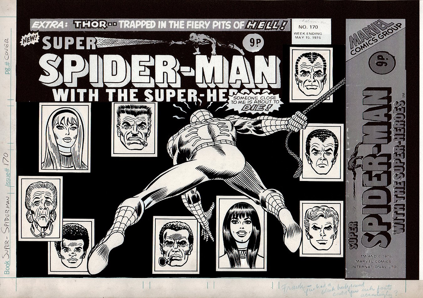 British Amazing Spider-Man #121 Published Cover (Super Spider-Man #170) 1976