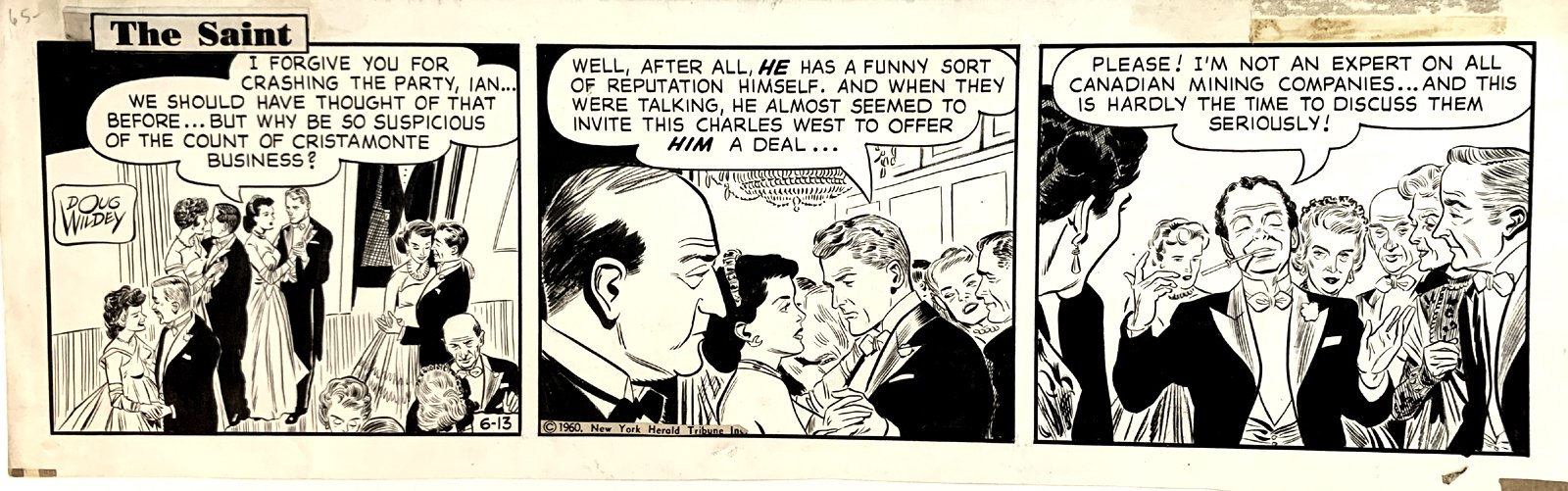 The Saint Daily Comic Strip 6-13-60
