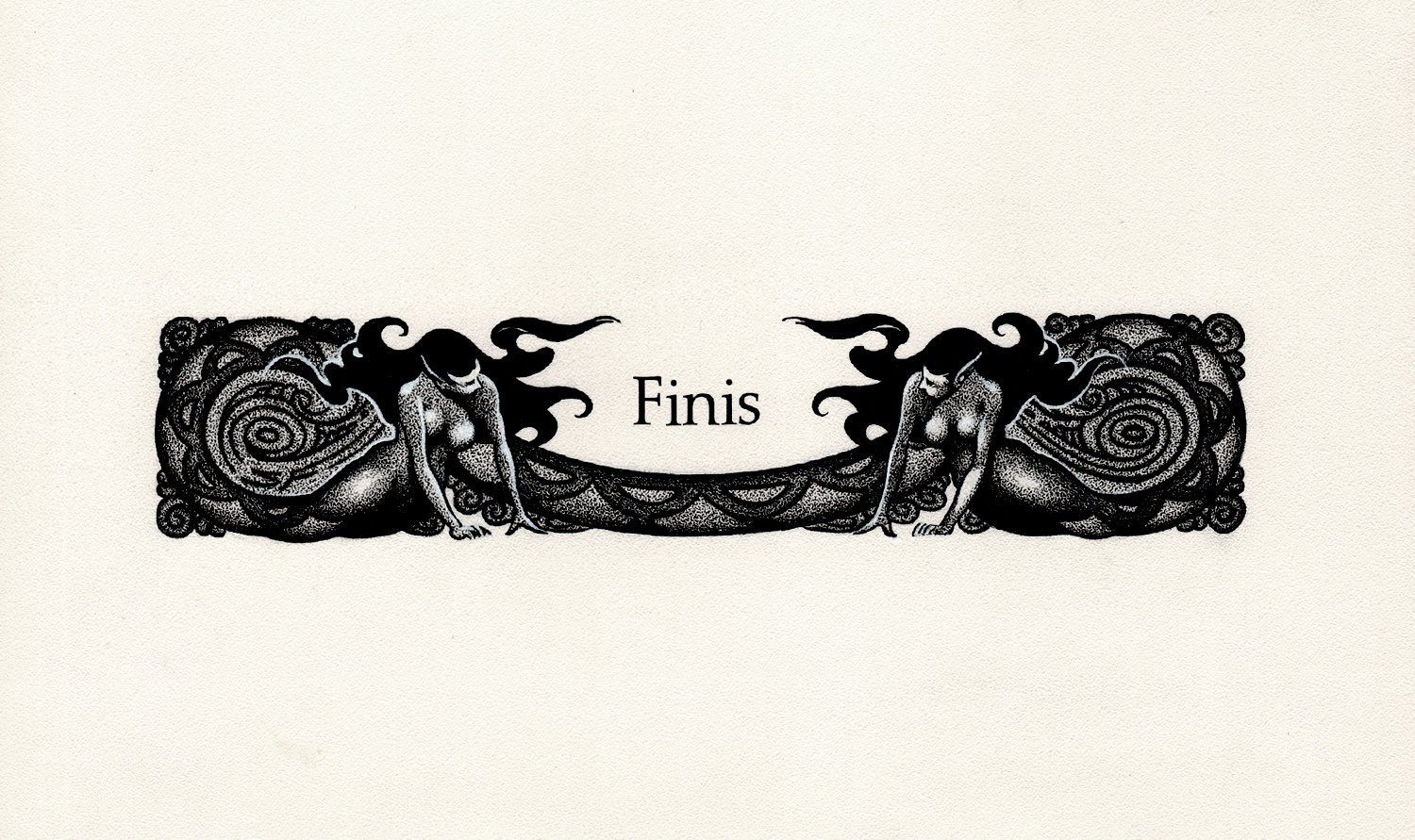 'FINIS' Last Page Illustration To Fantasy Book With 2 Sexy Nude Serpent Girls