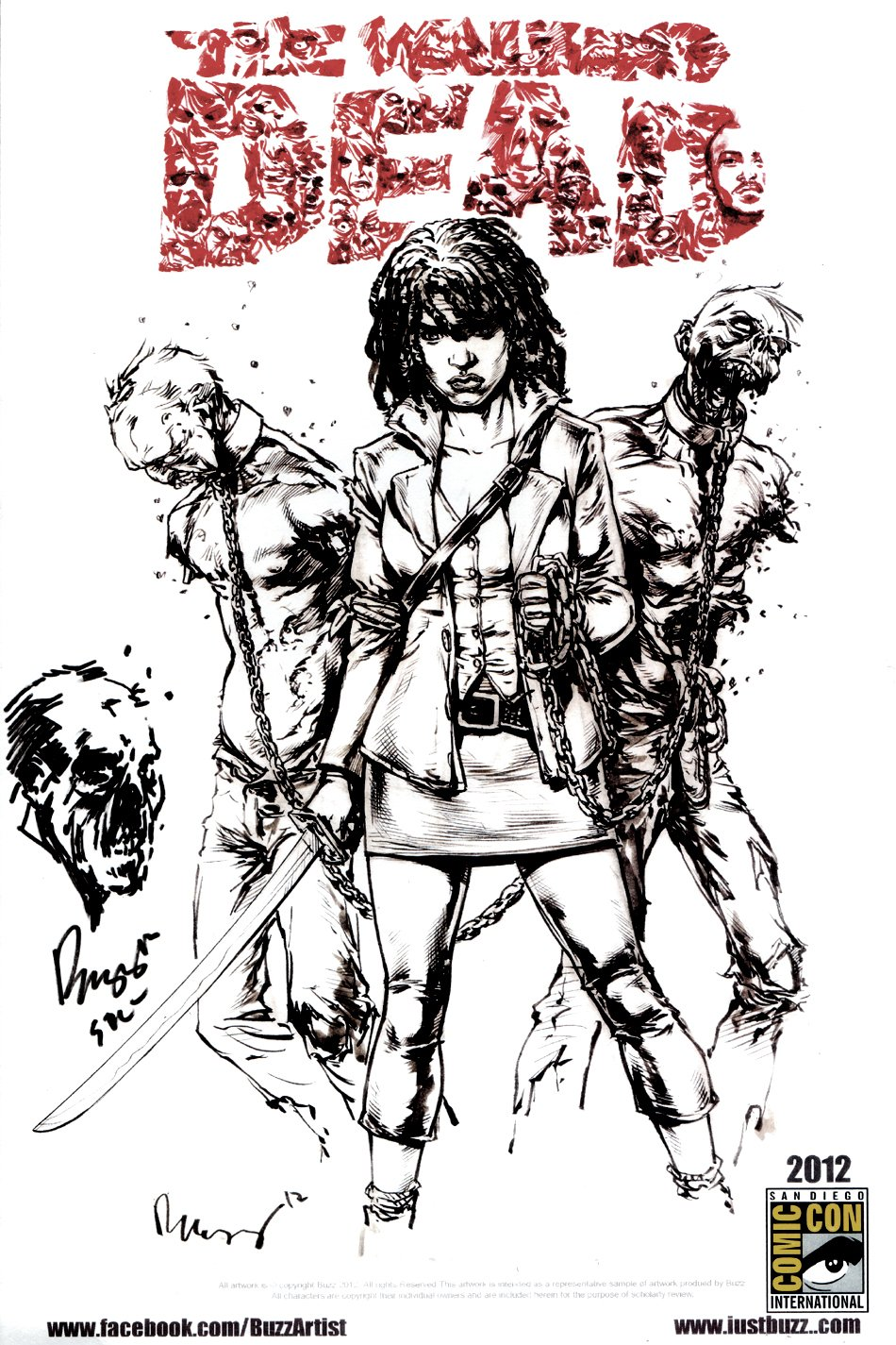 The Walking Dead -  Official Print With Original Zombie Drawing (2012)