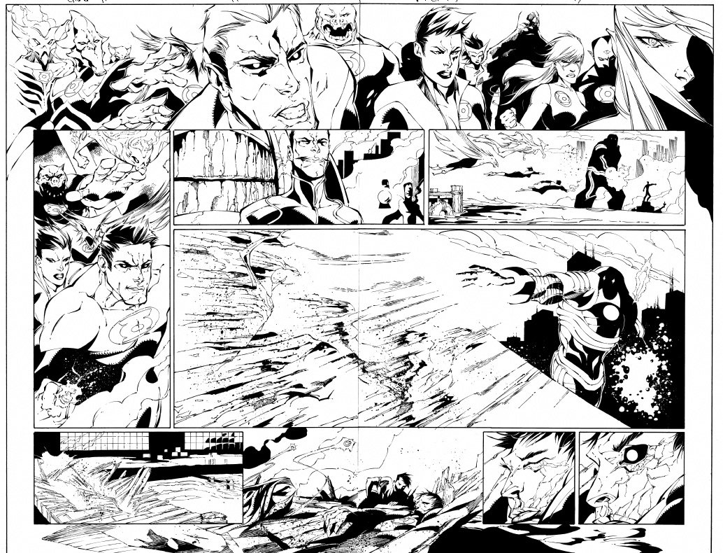 Green Lantern Corps #17 p 16-17 Double Spread