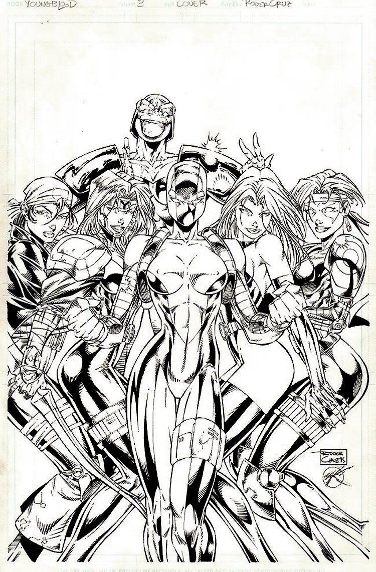 Youngblood #3 Cover (All Youngblood Members Turned Into Women!) 1995