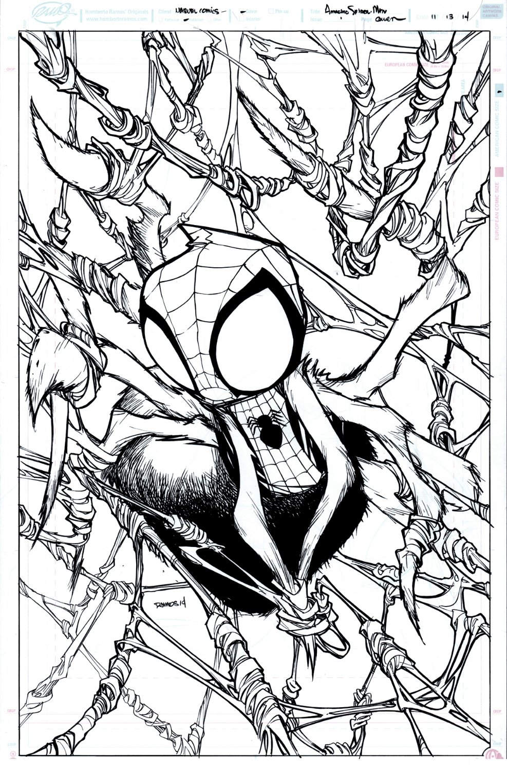 SPIDER-MAN UNPUBLISHED COVER.....Published In Ramos Book!) 2014