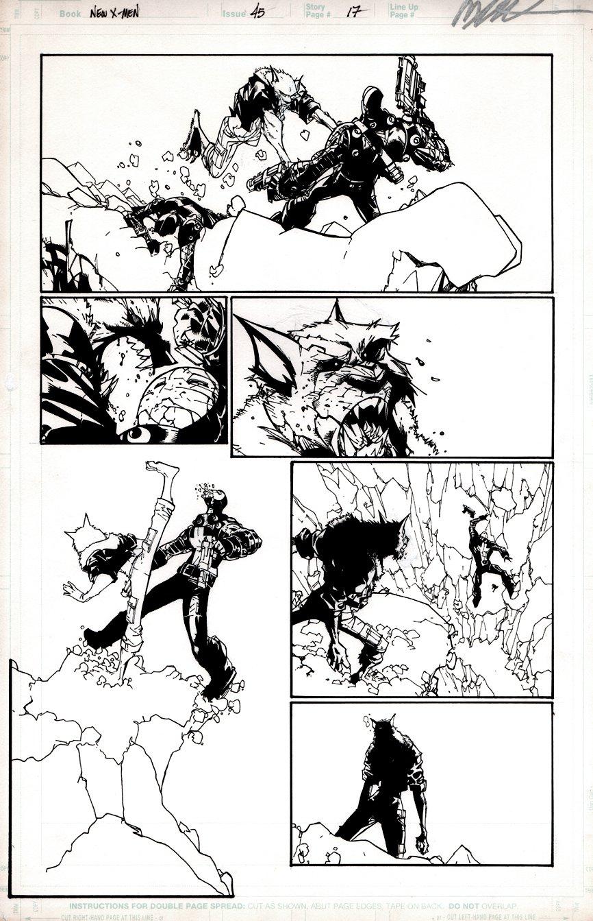 New X-Men #45 p 17 (Wolfsbane Kicks Ass!) 2008