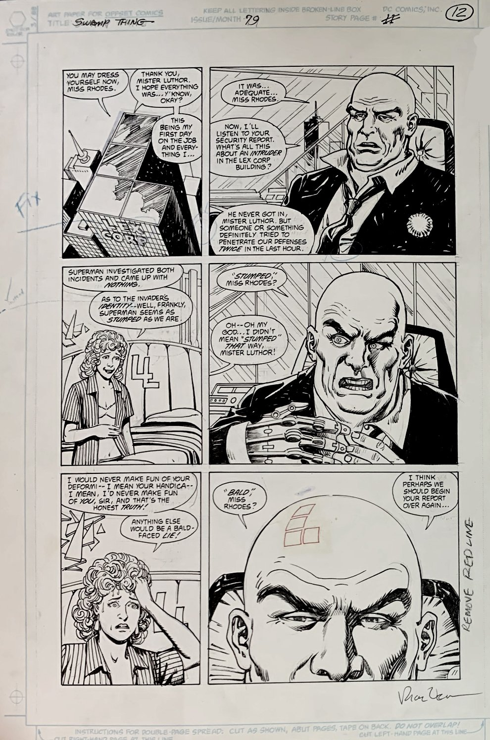 Swamp Thing #79 p 11 (Lex Luthor!) Large Art - 1988