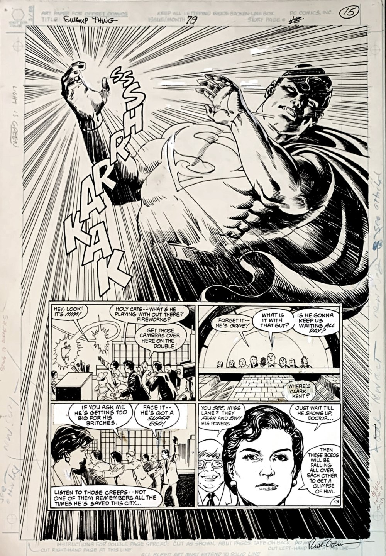 Swamp Thing #79 p 13 (SUPERMAN SEMI-SPLASH!) Large Art - 1988