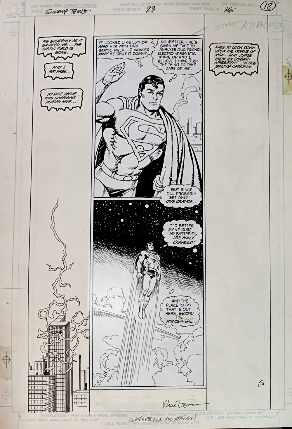Swamp Thing #79 p 16 (Clark Kent & Swamp Thing!) Large Art - 1988