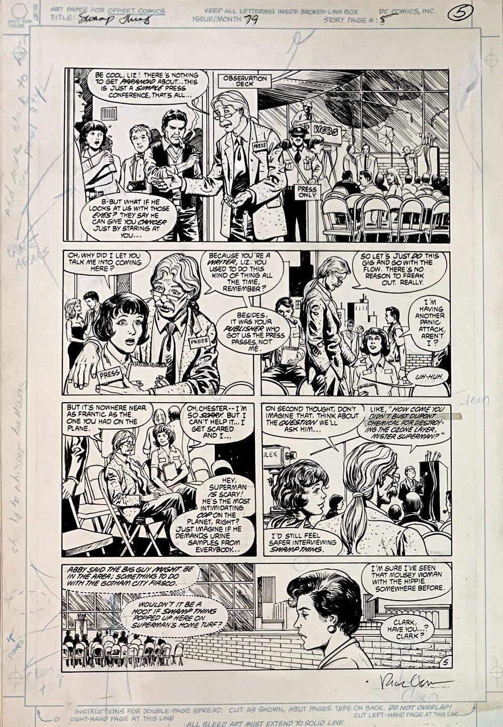 Swamp Thing #79 p 5 (Lois Lane!) Large Art - 1988