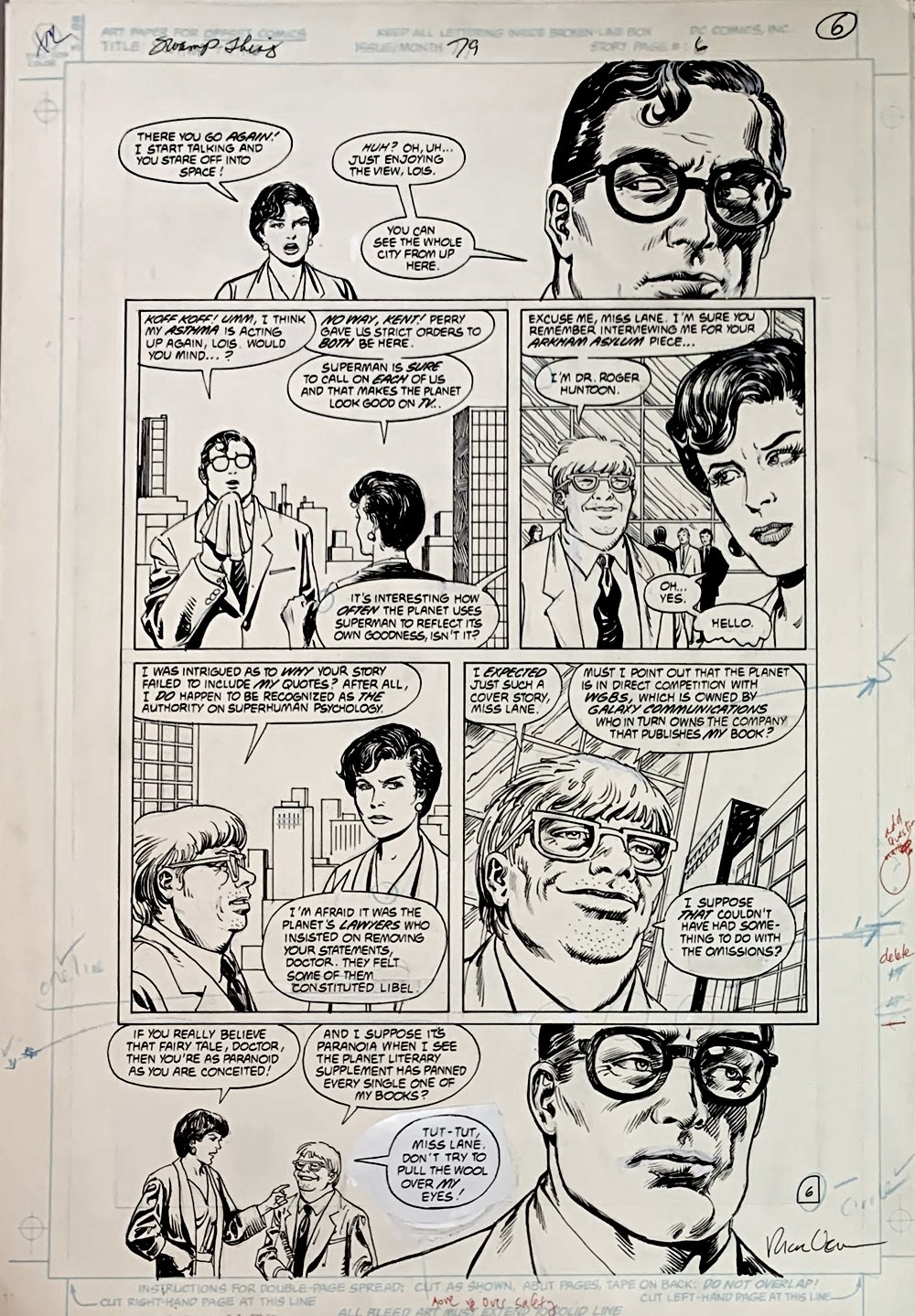 Swamp Thing #79 p 6 (Clark Kent & Lois Lane!) Large Art - 1988