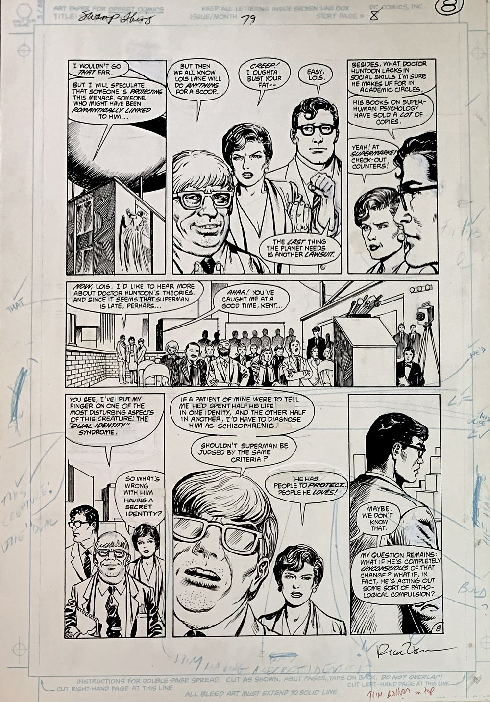 Swamp Thing #79 p 8 (Clark Kent & Lois Lane!) Large Art - 1988