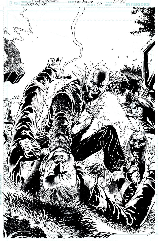 Constantine #4 Cover (Constantine Battles Papa Midnite & Zombie!) 2013