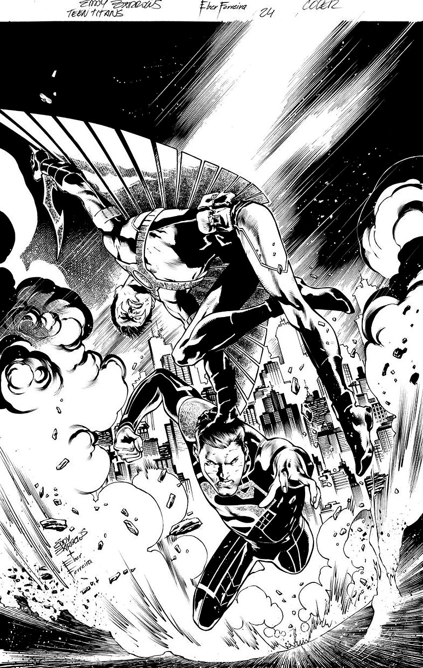 Teen Titans #24 Unused Cover (Red Robin vs Power-Mad Superboy) With Very Detailed Full Size Prelim - 2013