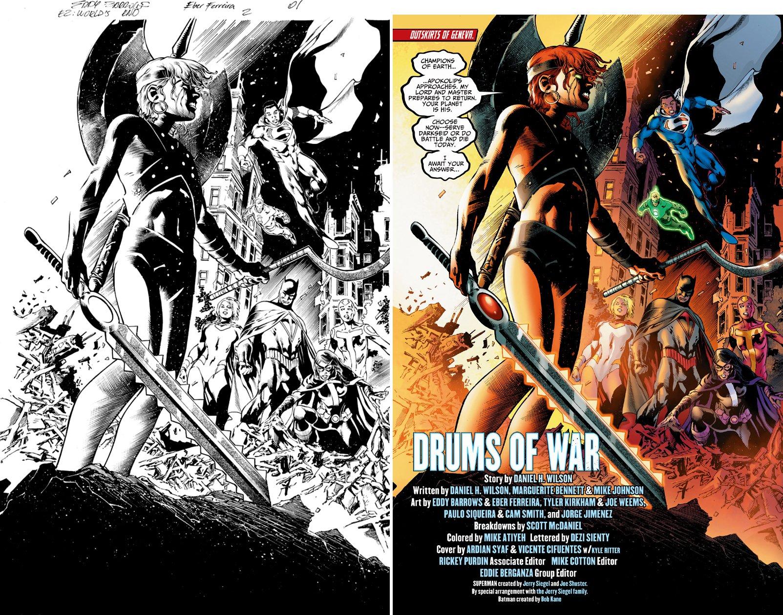 Earth 2: World's End #2 p 1 SPLASH (Superman, Power Girl, Huntress, Batman, Red Tornado, Green Lantern Battle K'li) 2014