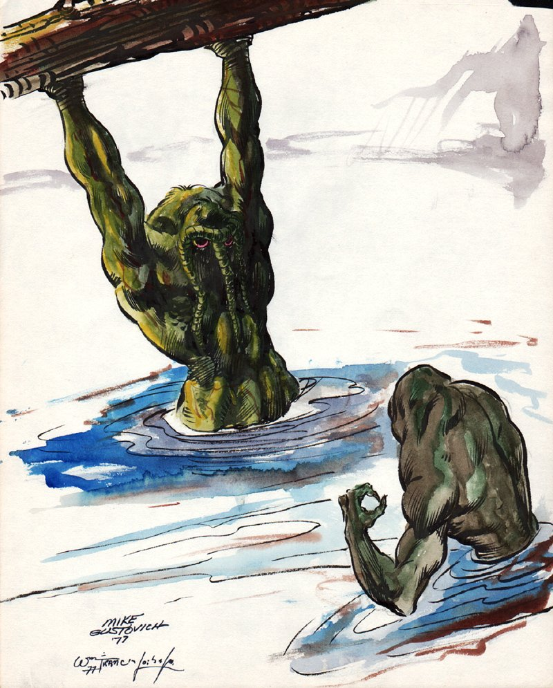 Early Man-Thing Vs Swamp Creature Pinup (1977)