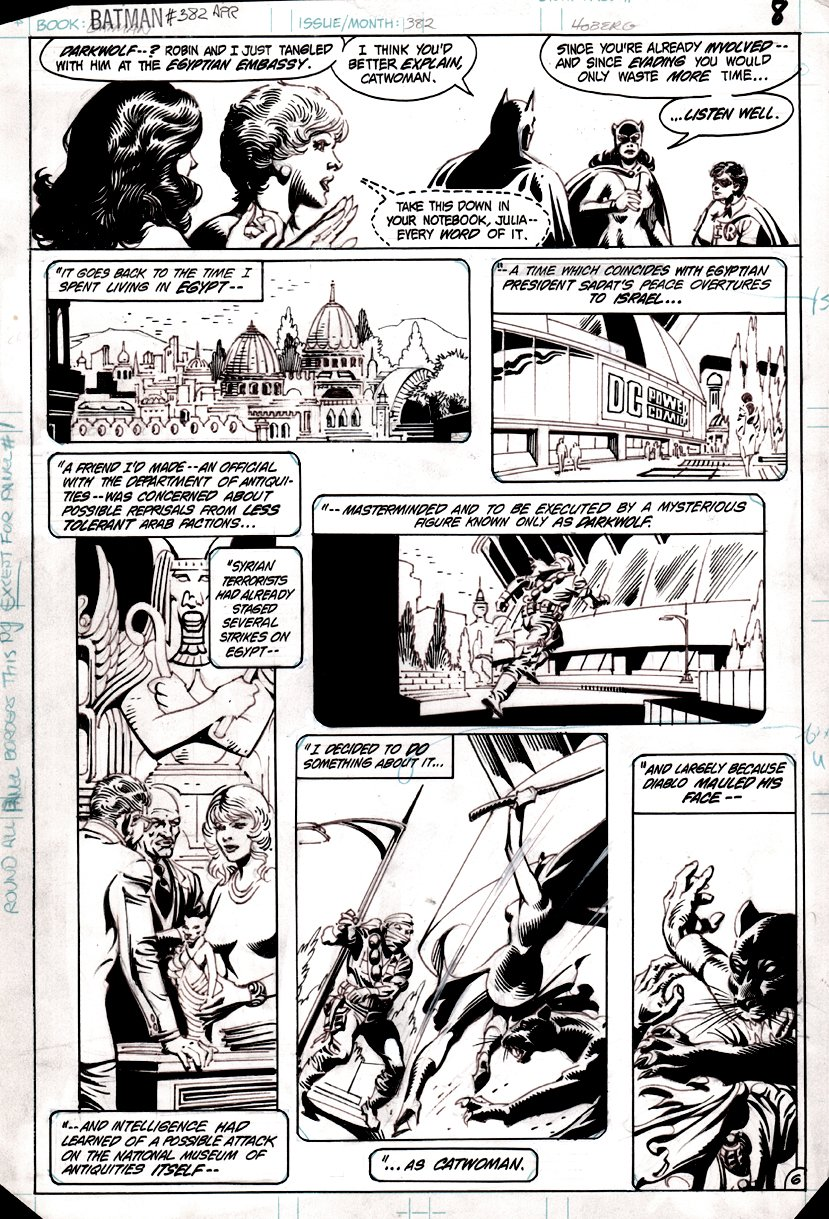 Batman #382 p 6 (Batman, Robin, Catwoman) 1985