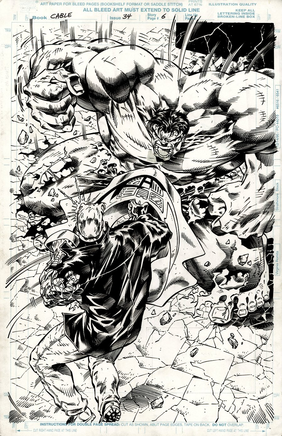 Cable #34 p 6 SPLASH (AWESOME... HULK BATTLES CABLE!) 1996