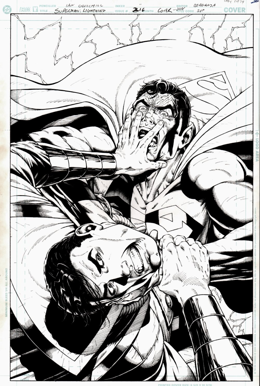 Superman #216 Cover (Superman Battling Captain Marvel) 2005