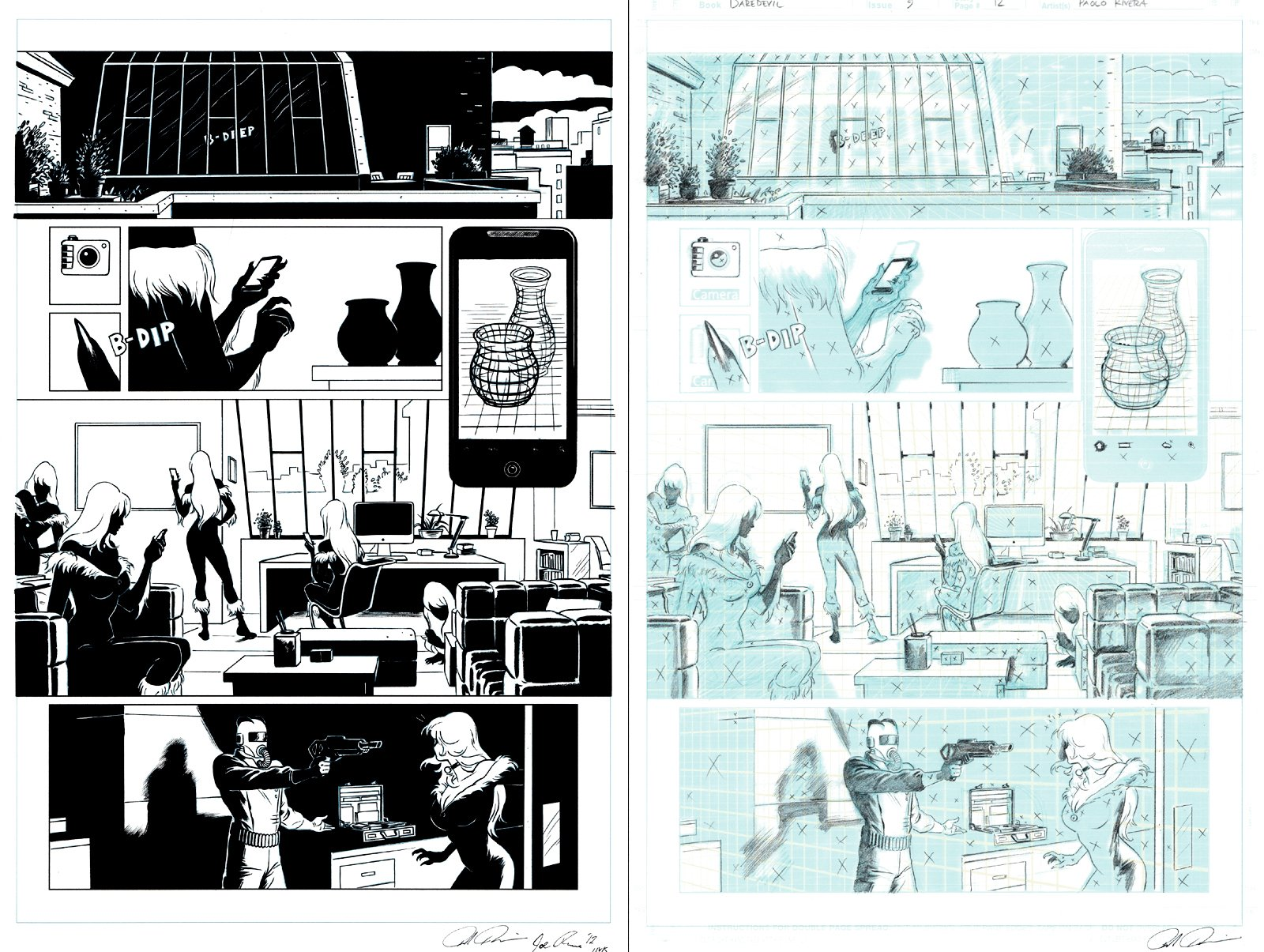 Daredevil #9 p 12 (Penciled & inked Pages Together, BLACK CAT THROUGHOUT!) 2012