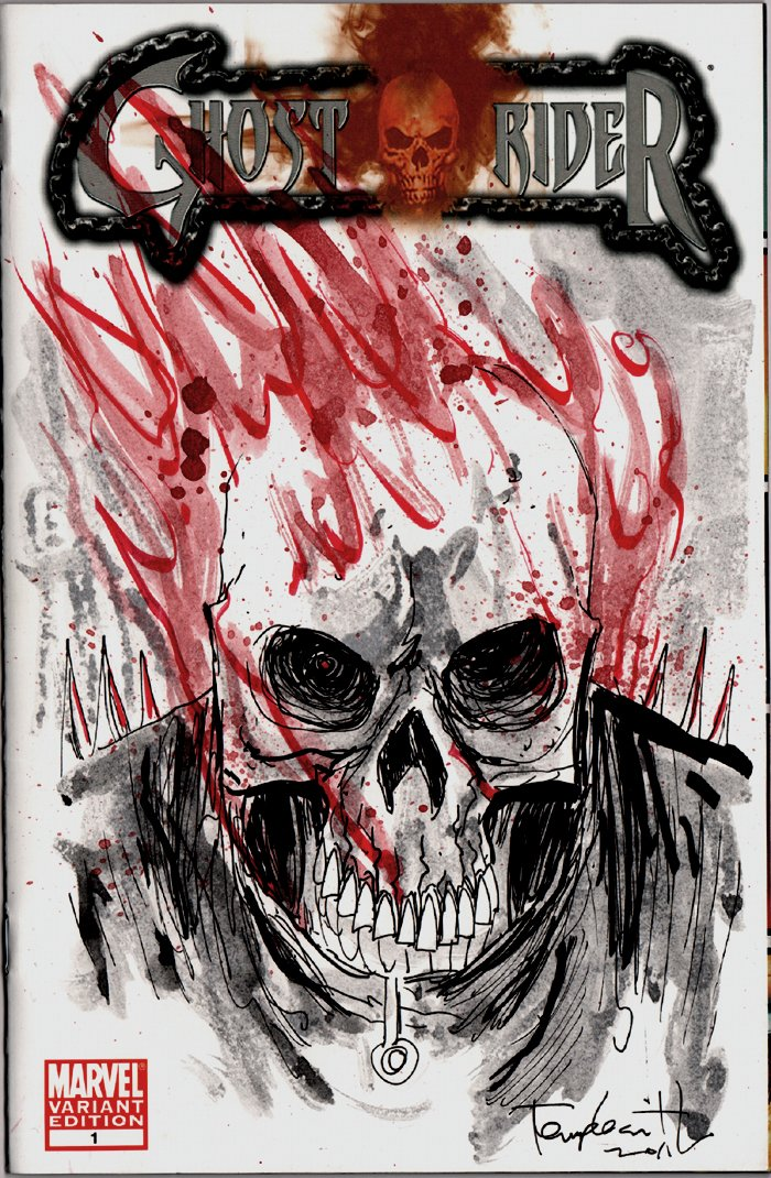 Ghost Rider #1 Mixed Media Sketch Cover Art (2011)
