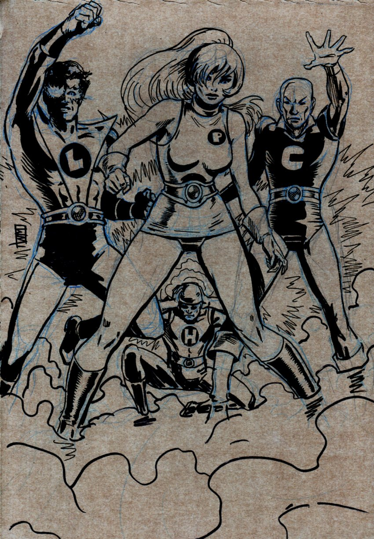 4 Super Heroes Pinup
