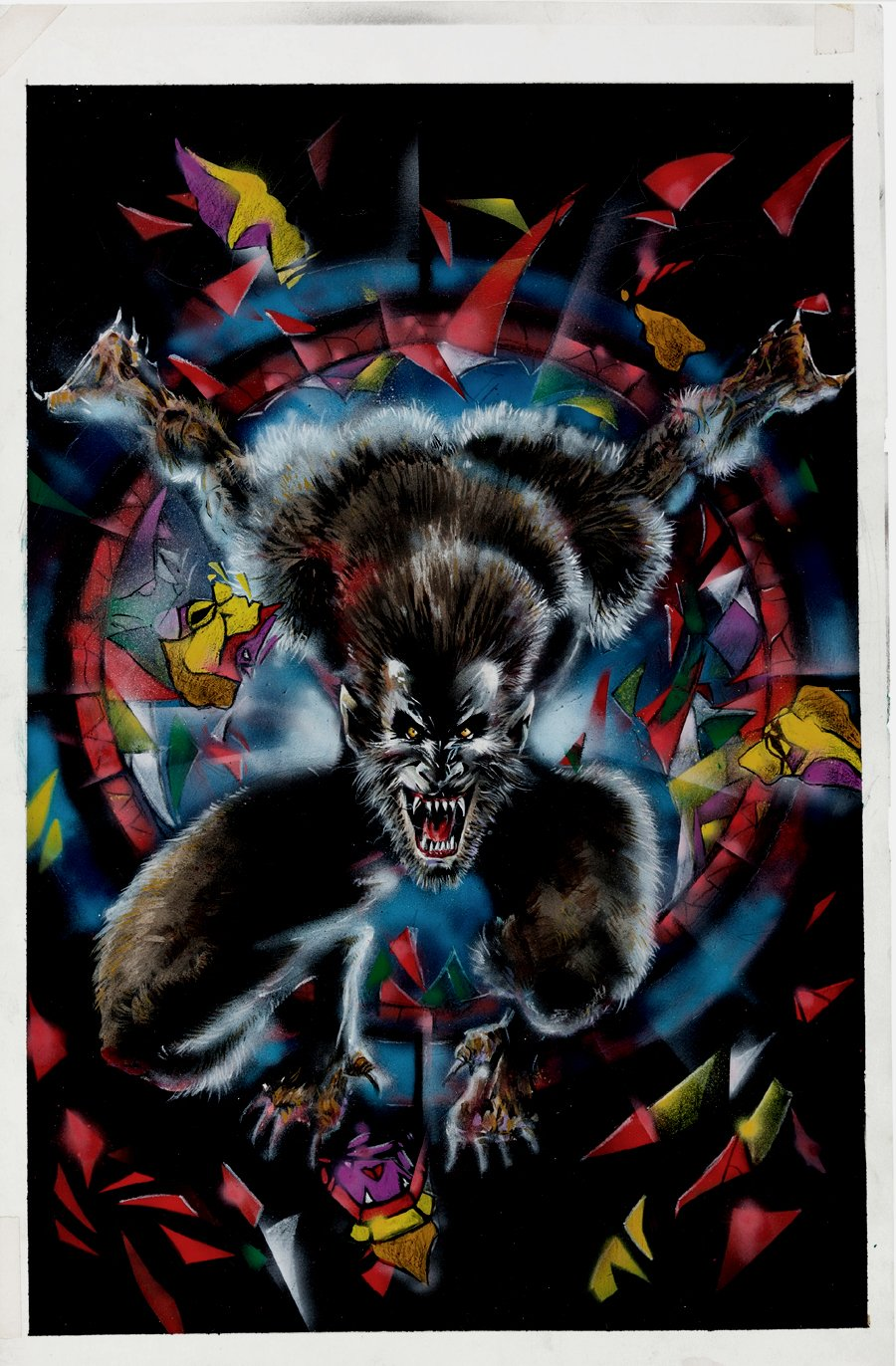 Werewolf by Night #2 Cover Painting (JACK RUSSELL WEREWOLF!) 1998