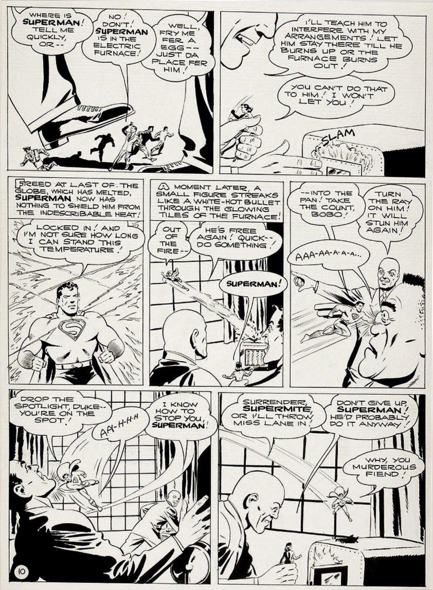 Golden Age 1944 Superman P 10 (Superman & Lois Lane Battling Lex Luthor!) Large Art - 1944