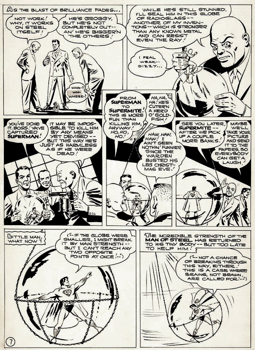 Golden Age 1944 Superman P 7 (EARLY GOLDEN AGE SUPERMAN VS LEX LUTHOR!) Large Art