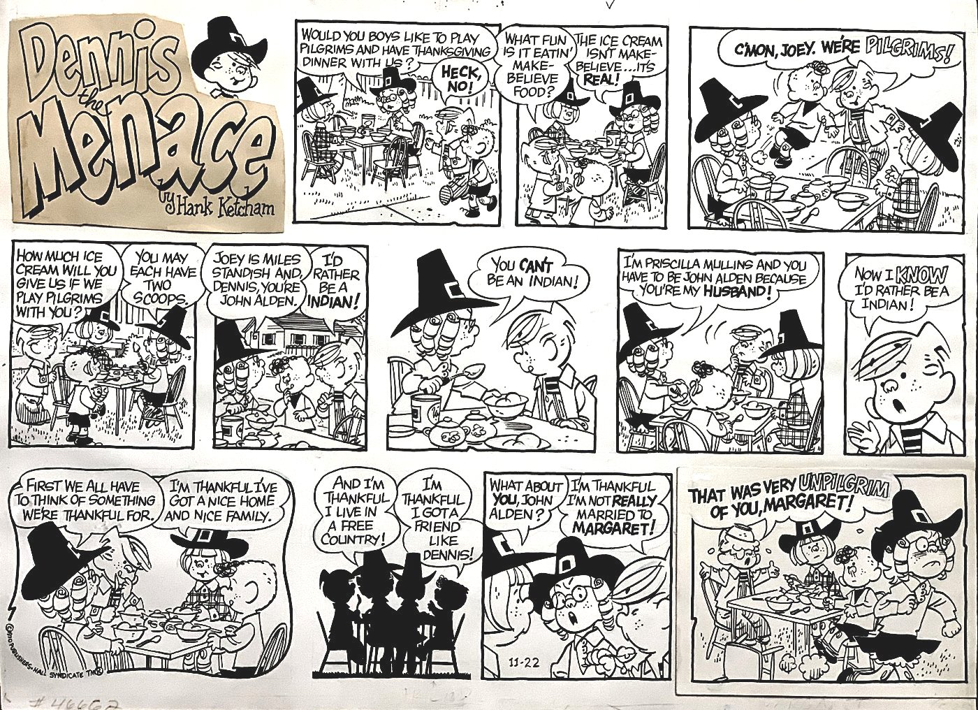 Dennis the Menace THANKSGIVING Sunday Comic Strip 11-22-1970