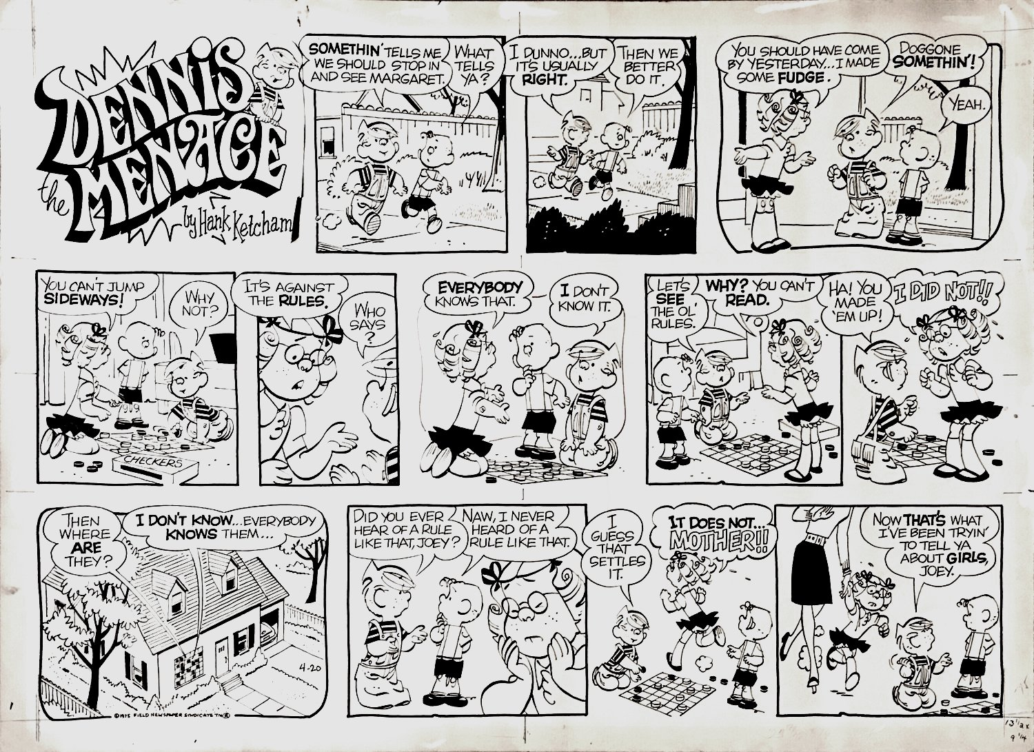 Dennis the Menace Sunday Comic Strip 4-20-1975