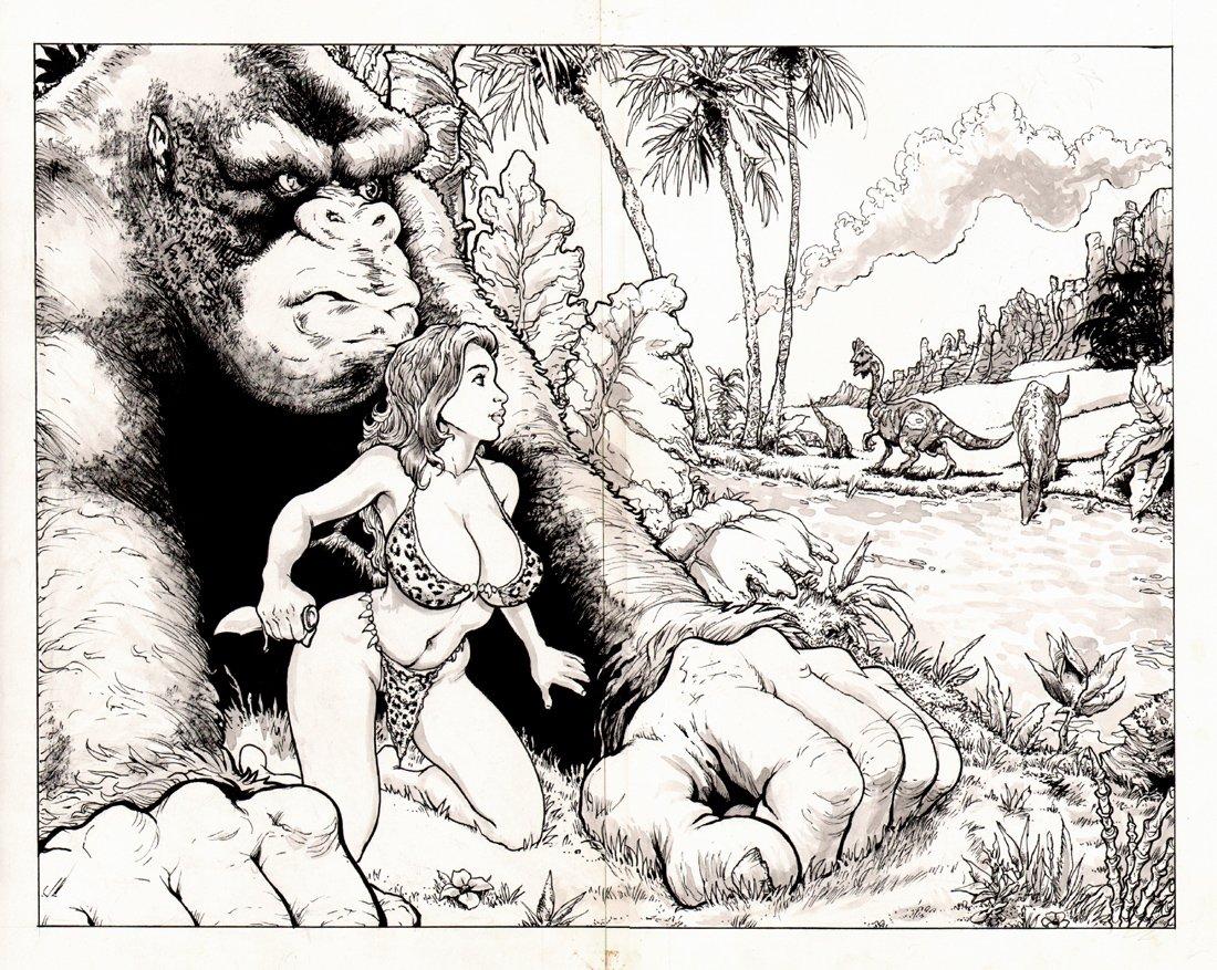 Cavewoman: Raptor #1 p 2-3 Double Spread Splash